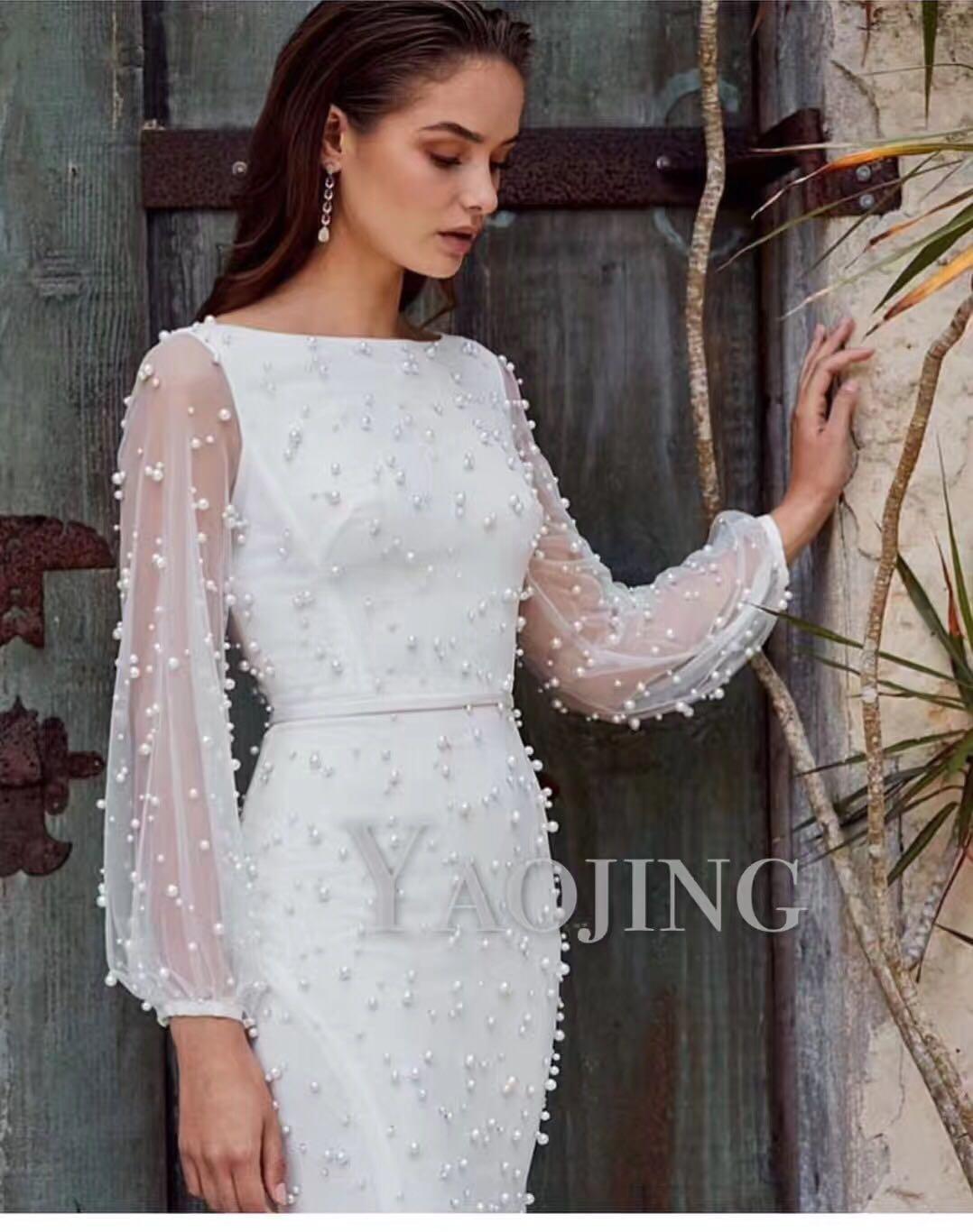 2020 European design fashion women's new gauze patchwork long sleeve beading slim waist pencil knee length dress plus size SML