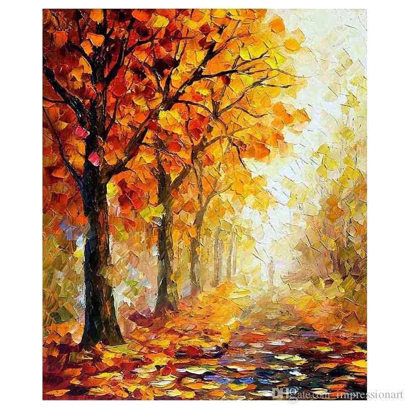 """36""""x48"""" The maple tree hand-painted canvas forest of autumn sofa setting wall painting stair adornment porch painted"""
