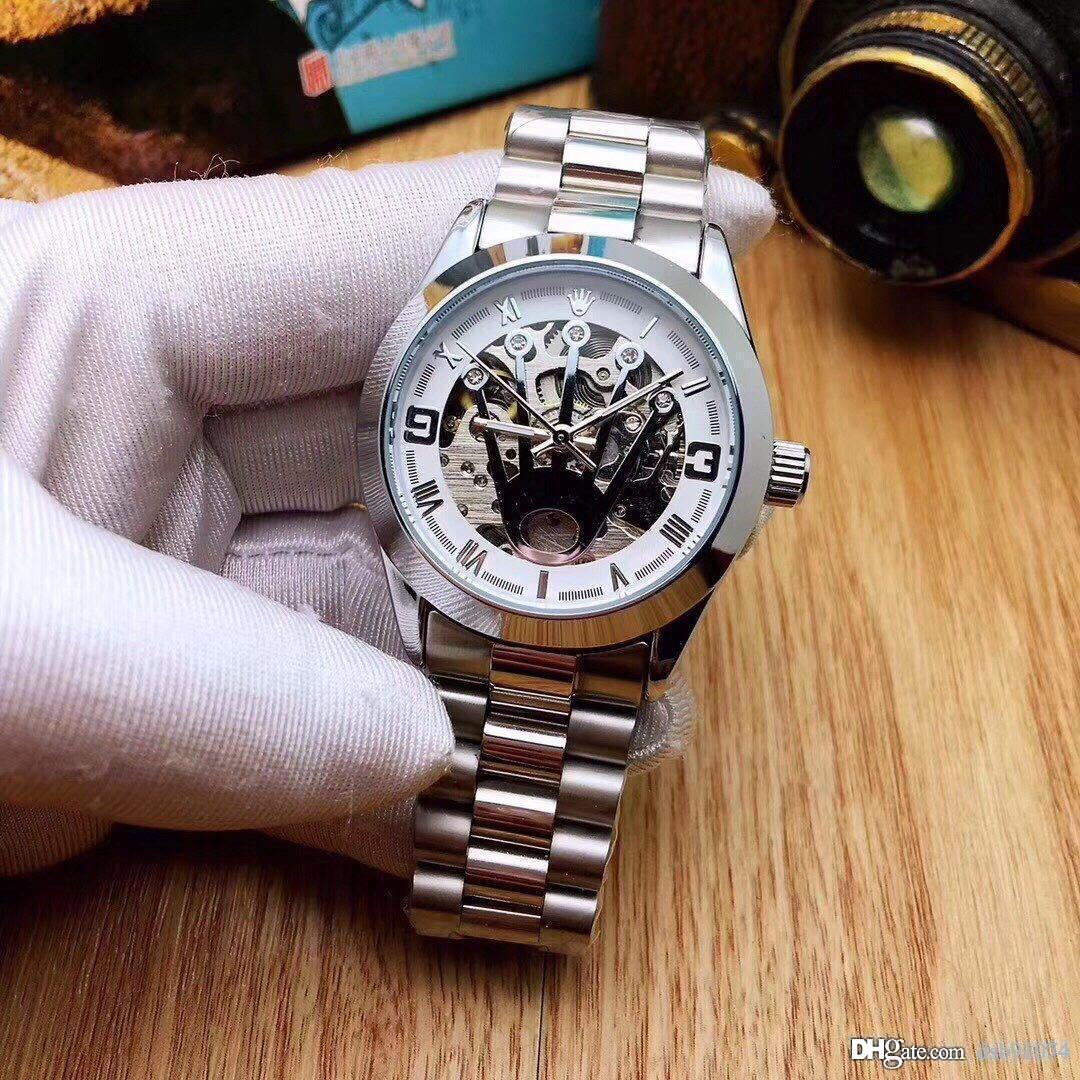 Fashion Hollow Crown Dial Business Men's Mechanical Watch Stainless Steel Strap Waterproof Diameter 38mm Thickness 12mm Dial2