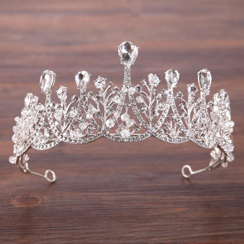 Lüks Yapay elmas Gelin Tiaras Taç Barok Gümüş Kristal Diadem İçin Kadınlar Bantlar Düğün Saç Takı Saç Aksesuarları