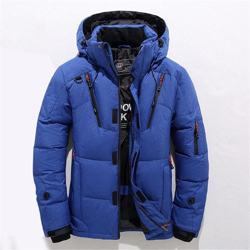 Hombre grueso caliente para hombre pato blanco abajo abrigo Jaqueta masculina M-3XL invierno pato abajo chaqueta hombres nueva moda cuello de piel chaqueta