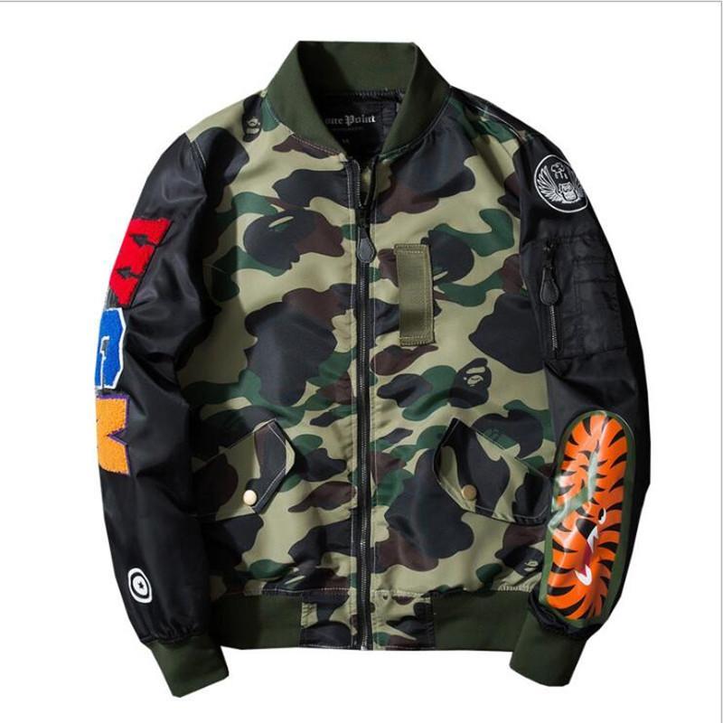ГОРЯЧИЙ продавать Супер MA1 Bomber Камуфляж акулы куртки обезьяны балахон одежда Черный капюшон по воздуху мужчин Верхняя одежда Parka Пальто Мужская одежда