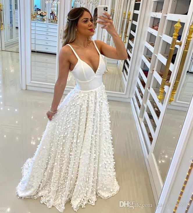 2020 vestidos de novia beach Wedding Dresses with 3d flowers lace Applique Formal Bridal Gowns Cheap Custom Bride Dress robes de mariée