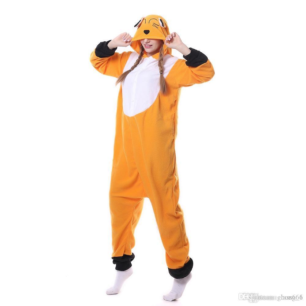 Winter Erwachsene Tier Orange Fox Kigurumi Onesies Party Warm Pyjama Cartoon Kostüme Overalls Weihnachtsgeschenk Mit Kapuze