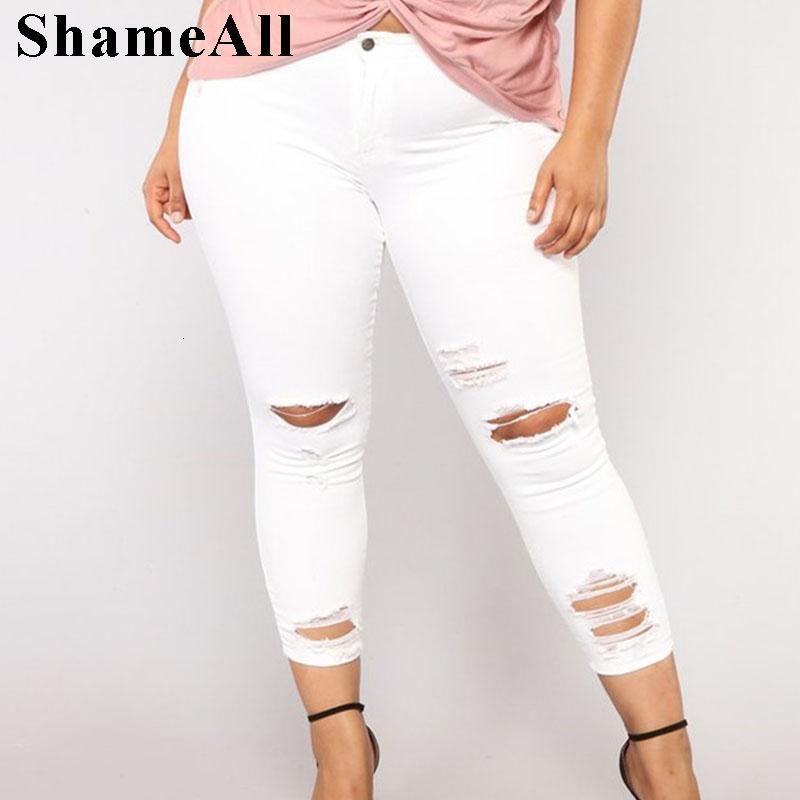 Artı boyutu Yırtık Delikler Beyaz Skinny Capris Jeans 4XL 5XL Yaz Sıkıntılı Püskül İnce Casual Jeans Kalem Kot Pantolon Anne Jean CJ191203