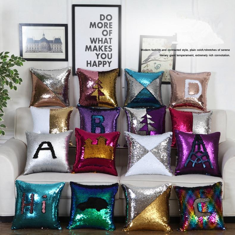 Cushion cover Sequins Pillow Case Cushion Heat printing Sublimation Pillow Cover Throw Cushion Case Magic Reversible EEA338