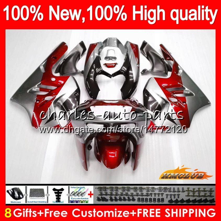 Kropp för Kawasaki Röd Silvery ZX900 900 CC ZX9R 94 95 96 97 47HC.18 ZX 900 9 R 94 97 ZX 9R 900c ZX-9R 1994 1995 1996 1997 Full Fairing Kit