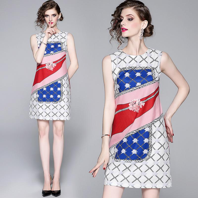 2020 New Summer Runway Vintage Floral Print Round Crew Neck Sexy Sleeveless Women Ladies Casual Party Beach A-line Mini Vest Shift Dress