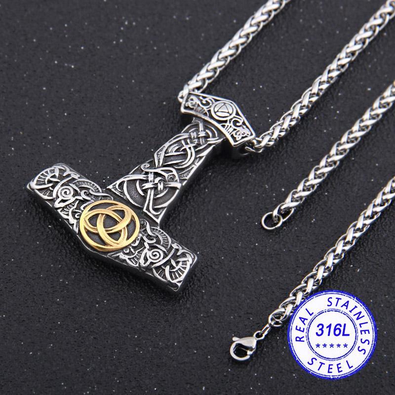 dropshipping acciaio inox viking martello di Thor Mjolnir collana Odin norreno collana regalo degli uomini