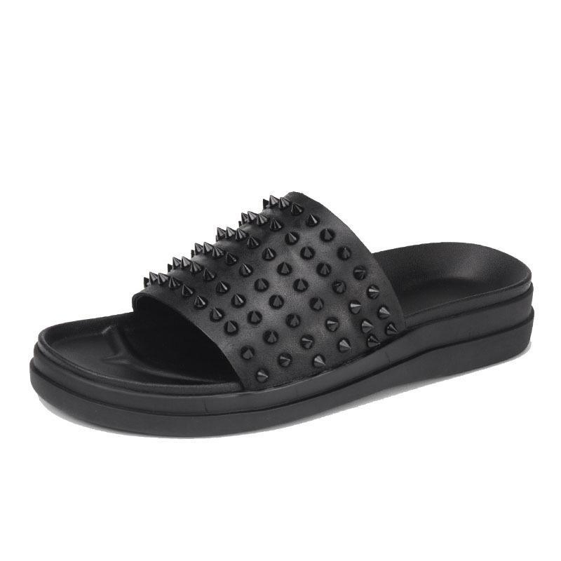 2020 الجديدة برشام الرجال الصيف النعال مصمم الإيطالي حقيقية الجلود الشرائح أزياء سميكة منصة شاطئ النعال ذكر أحذية