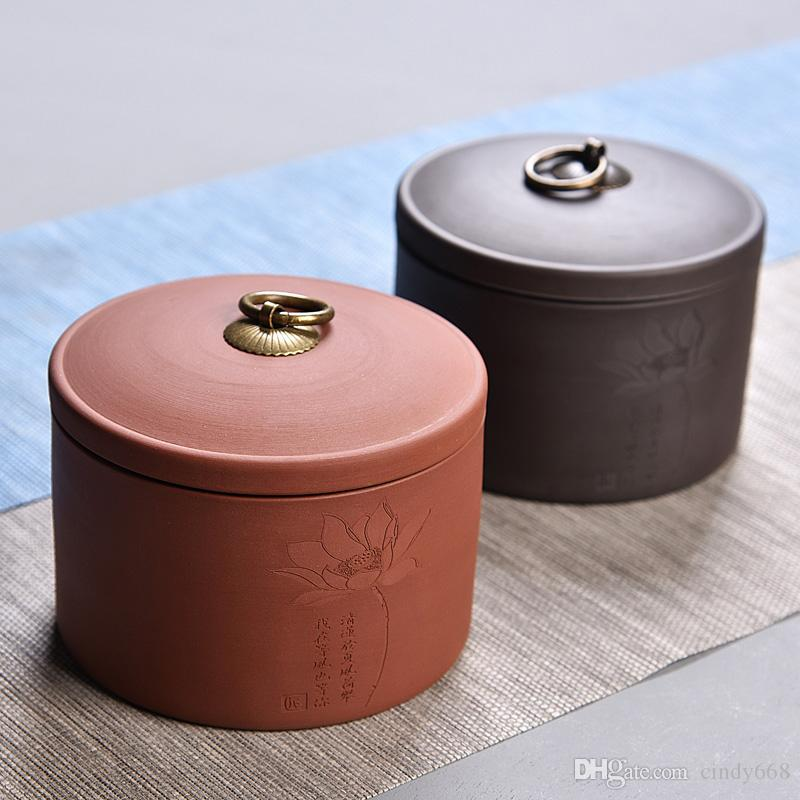 11*13 cm Tea Jar Candy Cans Ceramic Sealed Pu'er Tea Pot Storage Canister For Kitchen Box Purple Clay Scented Tea Jars With Lid