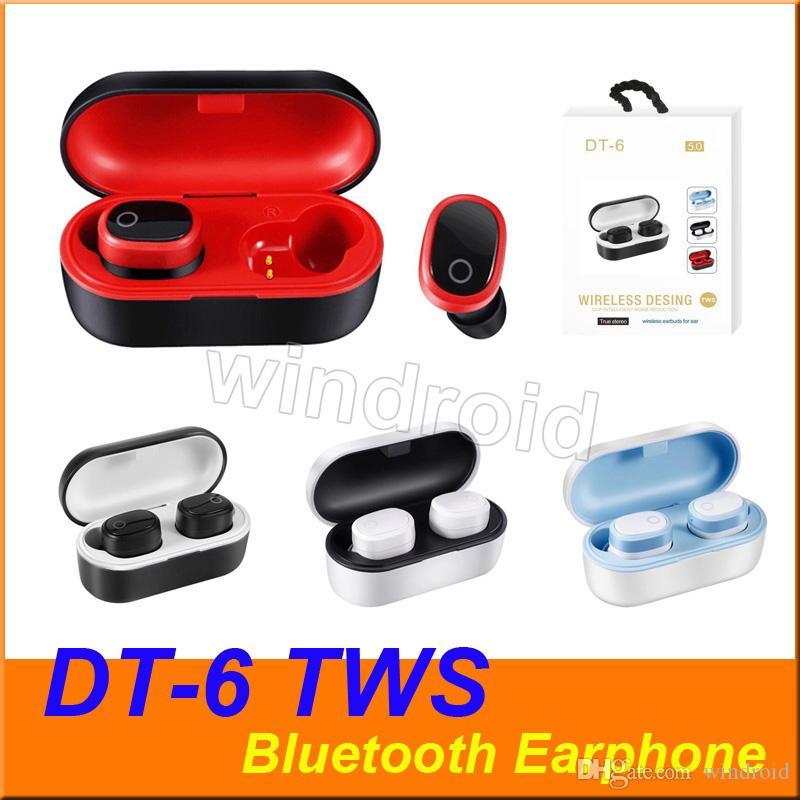 DT-6 riduzione del 5,0 rumore TWS vero senza fili Cuffia senza fili di Bluetooth di sport Fitness-auricolari Earbuds con ricarica scatola 4 colori