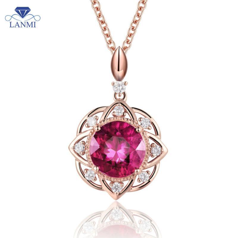14K розовое золото красный рубин ожерелье кулон натуральный бриллиант фантастический танец ювелирные изделия WP050