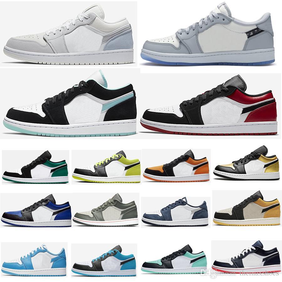 2020 Jumpman 1 1s Zapatos baloncesto de los hombres de baja UNC París Obsidiana Ember Glow Top cibernético 3 Orewood Brown Real monopatín militar Trainer zapatilla de deporte
