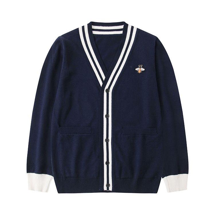 Europa y América bordado de prendas de punto de manga larga de los hombres suéter y de la pareja de la mujer y versátil chaqueta de punto con cuello en V