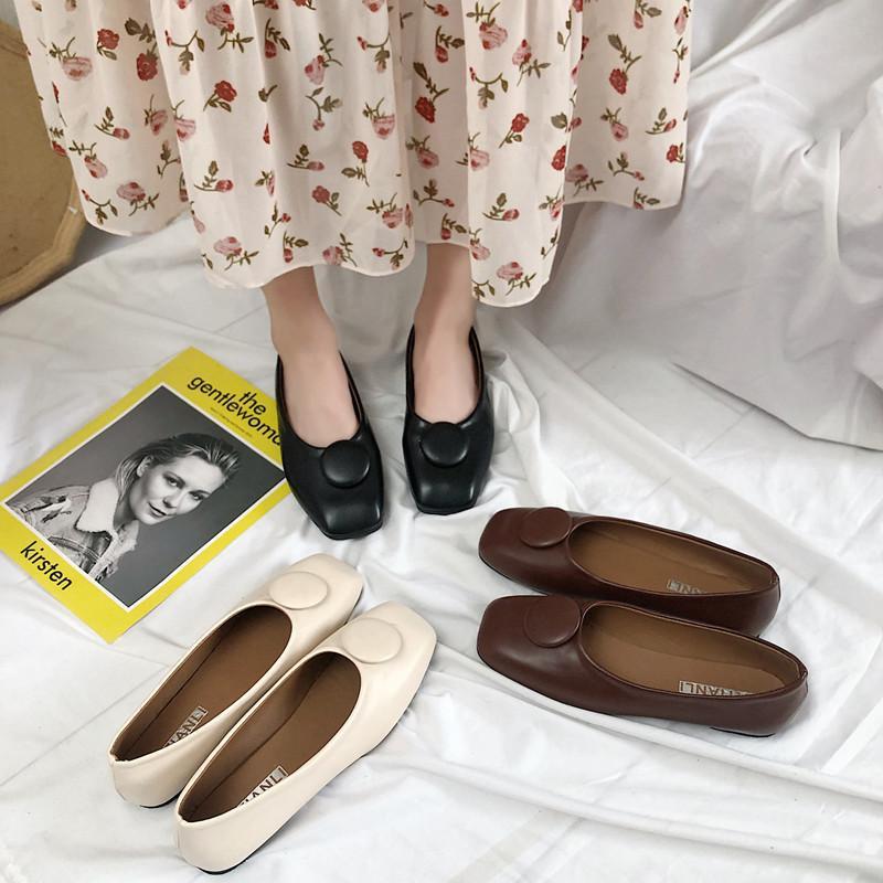 Fancy2019 Bas Plat Automne Asakuchi All-Match Tempérament Loisir Temps libre Chaussures Femmes Square Grandma Single Shoe Femme