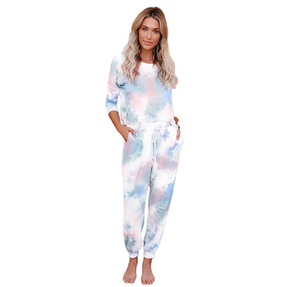 Tie Dye Impresso Treino Mulheres meninas Pajama Set Long Sleeve Tops Long Pants Pijamas PJ Define Suits Loungewear Pijamas 2pcs LJJA4090