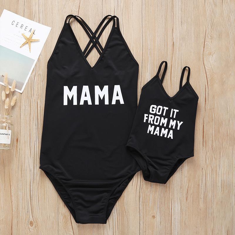 2020 récent maman et fille Maillots de bain MAMA Lettre d'été pour enfants une pièce Maillot de bain Mère Fille Costume Natation Tenues Famille WF309 Matching