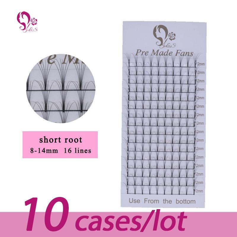 J&S eyelashes extension 6D short stem pre made fans 10 trays Russian volume individual fans lash