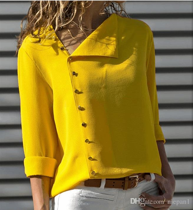 Осень новый горячий стиль мода 6 цвет кнопки нерегулярные косой платье с длинными рукавами рубашка