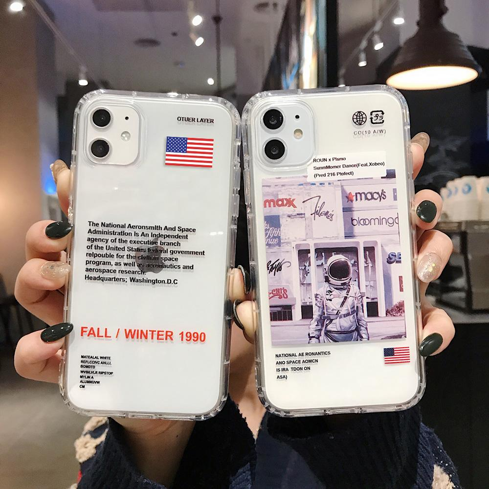 ins fashion brand US Astronaut phone Case for iphone 11 pro X Xs Max Xr 7 8 6 s Plus luxury label Clear soft silicone cover