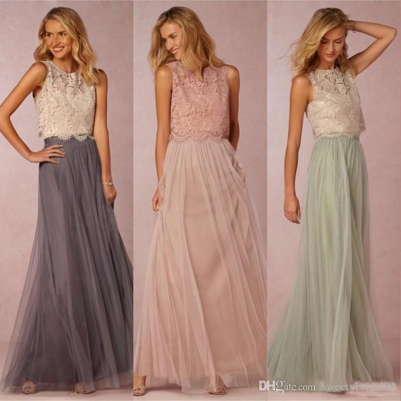 2019 Vintage Two Pieces Bridesmaid Dresses Tulle Ruched Floor Length Blush Mint Grey Bridesmaids Gowns Lace Wedding Party Dress
