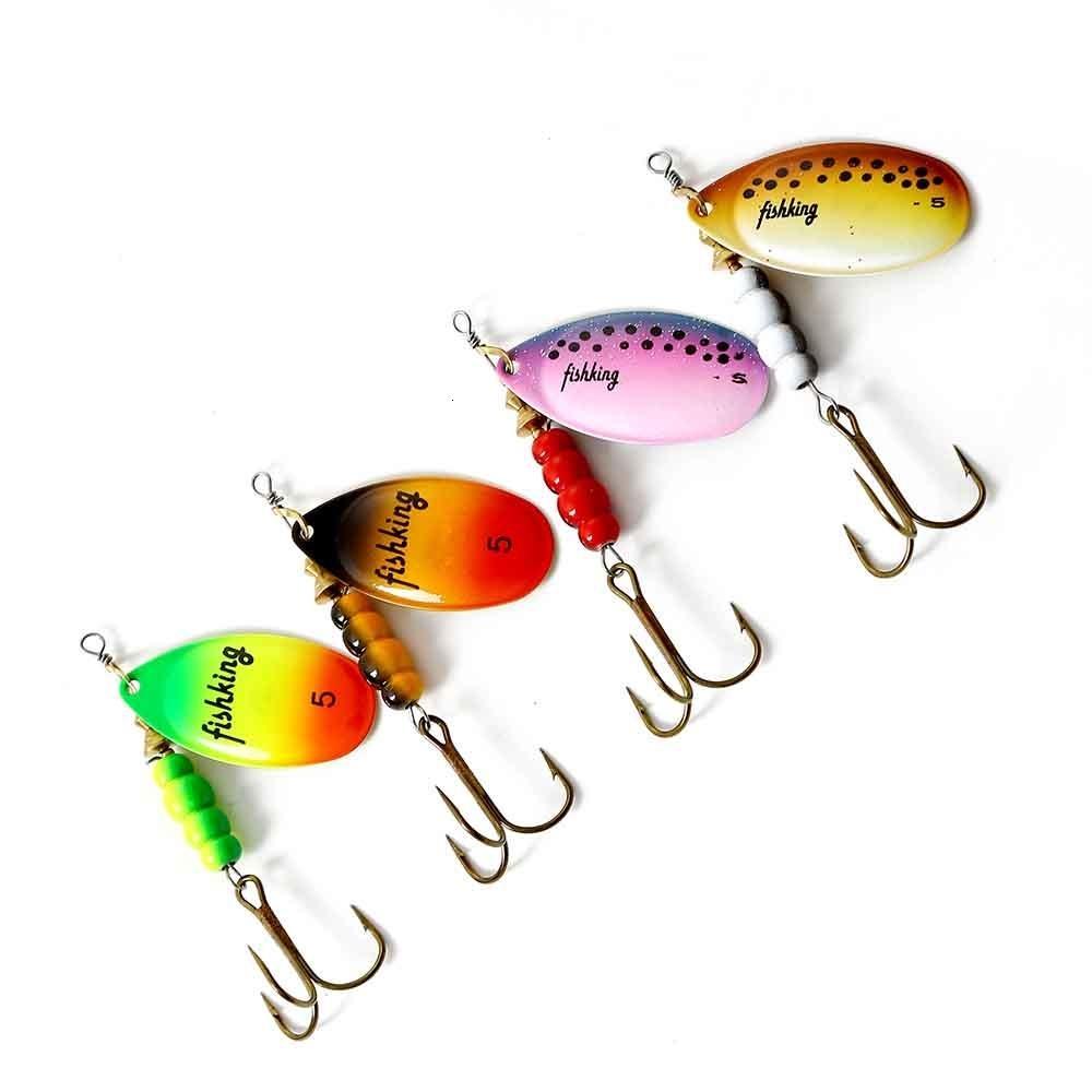 PESCE RE 3.5 4.5 6.5 9.5 14g richiamo duro Wobblers artificiali per la traina di pesca del metallo di richiamo di cucchiaio dei filatori trota al luccio T191016