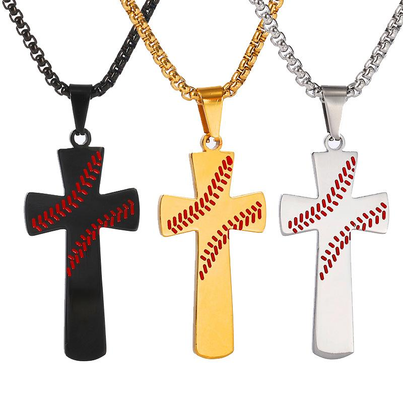 Creative baseball cross pendant necklace for women and men stainless steel necklace Christian religion Jewelry Gift For Lover