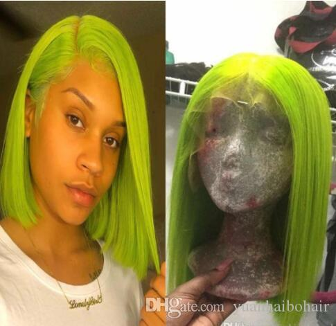 Apple Green Color Full Lace Wig Bob Style
