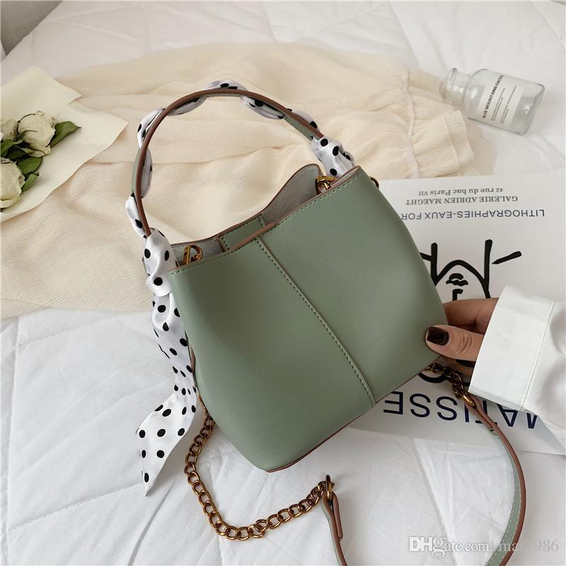 2019 Yeni moda Kadınlar Messenger Crossbody çanta Kurdela Çanta Kova çanta Omuz Deri Çanta 11hao / 5