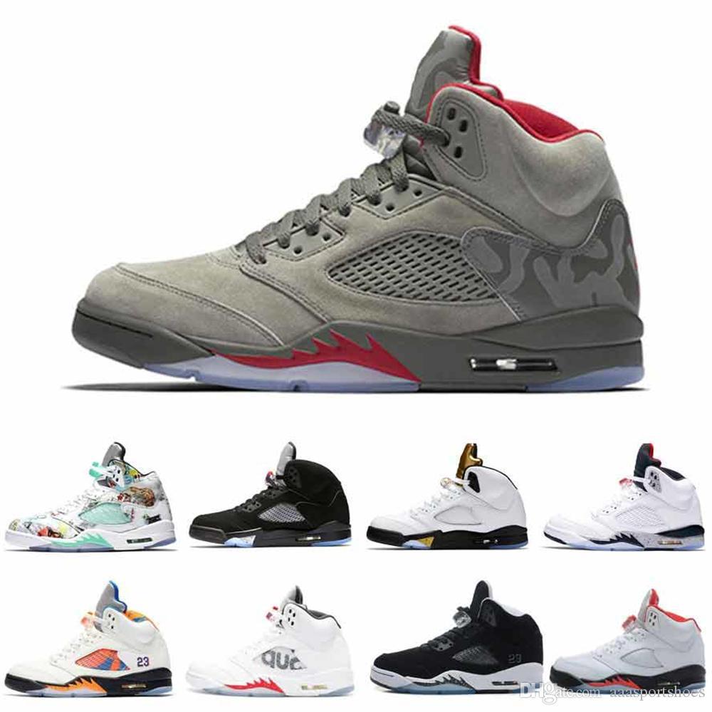 Высокое качество 5 5S Black Metallic 3M Отражать Черный виноград Oreo Баскетбол обувь Мужские кроссовки Красная замша CDP Белый цемент Спортивная обувь