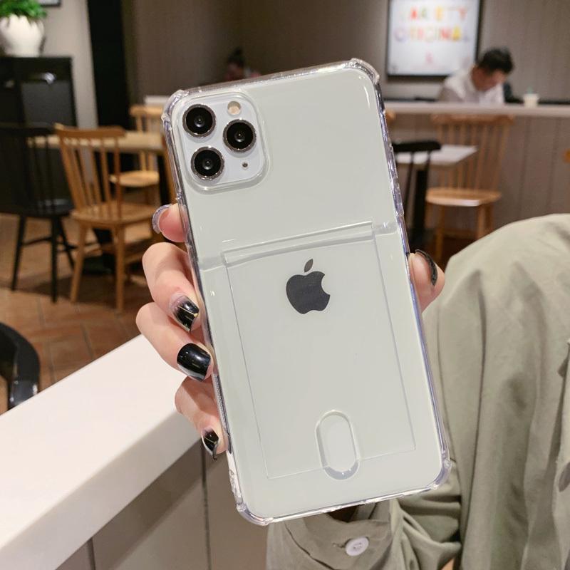 Einfache transparente Kartenhalter-Telefon-Kasten für Iphone 11 Pro Max Xr X Xs Max 7 8 Plus Solide Süßigkeit weicher TPU Fall-rückseitige Abdeckung