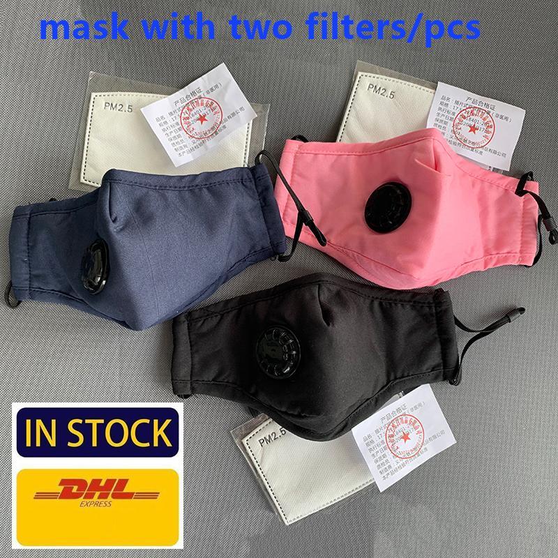 máscara algodón Mascarilla diseñador transpirable válvula PM2.5 Anti-polvo Máscara de carbono con 2 Filter-reutilizable lavable respirador de cara libre de la cubierta DHL