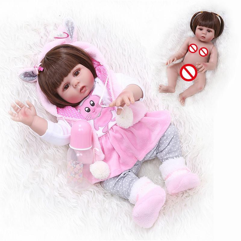 cabelos lisos NOVO 49cm bebe boneca reborn da menina da criança no vestido de coelho rosa corpo cheio de silicone macio brinquedo do banho do bebê realista