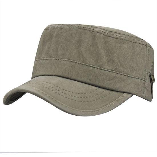 Hommes d'été 100% coton pour hommes Sports de plein air Courir Cadet Flat Top Twill Corps Peaked Baseball Voyage Armée militaire Chapeau avec poches