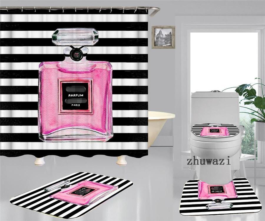 حمام لينة الطباعة مقعد المرحاض وسادة واحدة ثلاث أو أربع مجموعات كل الفصول ثخن الشمال الوردي زجاجة عطر مراحيض الغلاف دش الستار