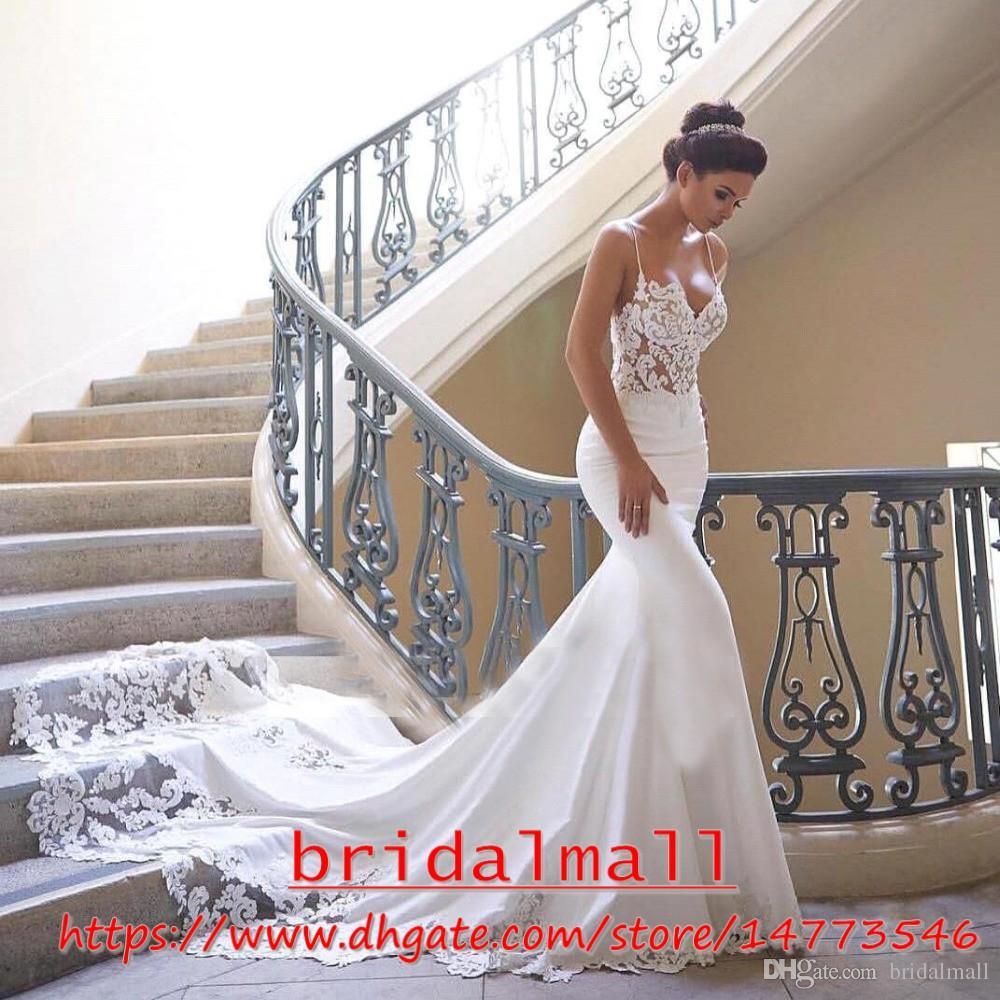 Esparguete Cintas 2019 Renda Appliqued Vestidos De Casamento Sereia Ver Através De Vestidos De Noiva De Cetim Mais Vestidos De Noiva Tamanho Vestido De Noiva Vestidos De Novia