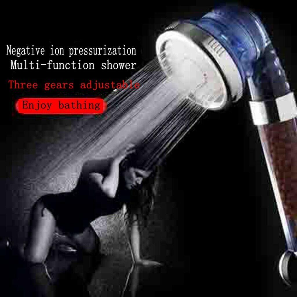 Le pommeau de douche à main à trois modes haute pression en pierre régule parfaitement les ions, élimine, bactéries, odeurs et autres substances nocives.