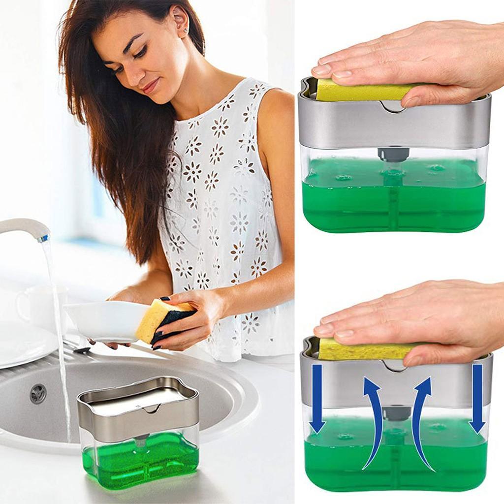 Multifunzione dispenser di sapone Spugna Caddy non tossico inodore Dispenser Cucina Rack creativa BAGNO Lavatrice Storage Box # 25