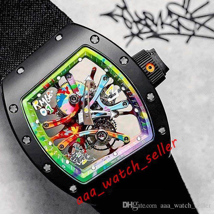 8 Стили Новые Мужские Моды Часы RM68-01 Cyril Kongo Outdoorworked Tourbillon Rainbow Graffiti Набор Sapphire Mechanical Автоматическое движение