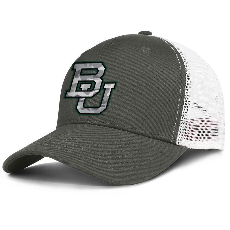 mens e donne Baylor Bears grigio mimetico calcio regolabile camionista disegno meshcap vuoto personalizzato baseballhats originali Logo Giallo