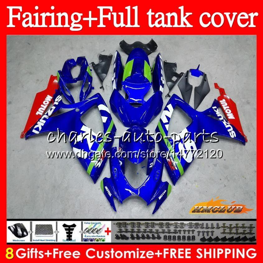 + Цистерна для SUZUKI GSX-R 750 600 CC GSX R600 GSXR750 73HC.0 600cc 750cc GSXR600 06 07 GSXR600 K6 GSXR750 2006 2007 обтекателя Синий черный