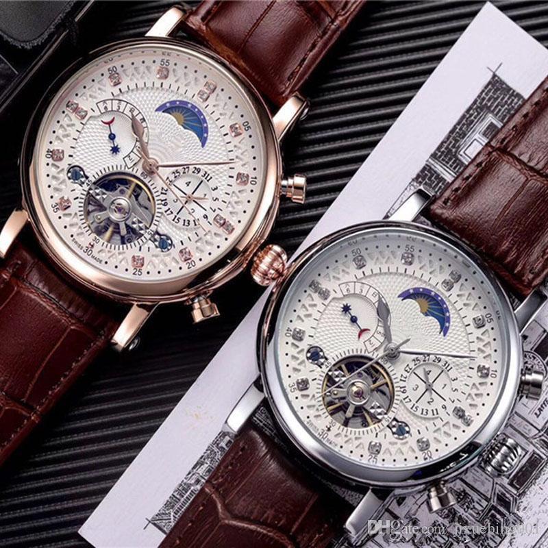 2019 moda masculina relógios de alta qualidade mostrador do relógio de luxo data dia diamante turbilhão relógios automáticos mecânicos para o presente homens rejoles #