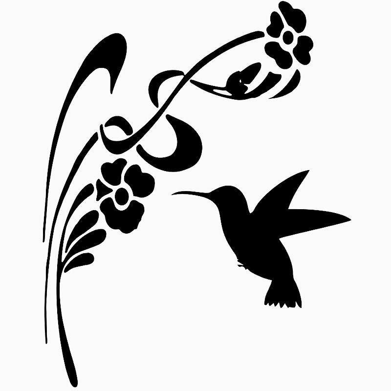 15 * 13.5cm Moda Kişilik Yaratıcılık Klasik Cazip Hummingbird Çiçekler Die Cut Vinil Pencere Decal Sticker