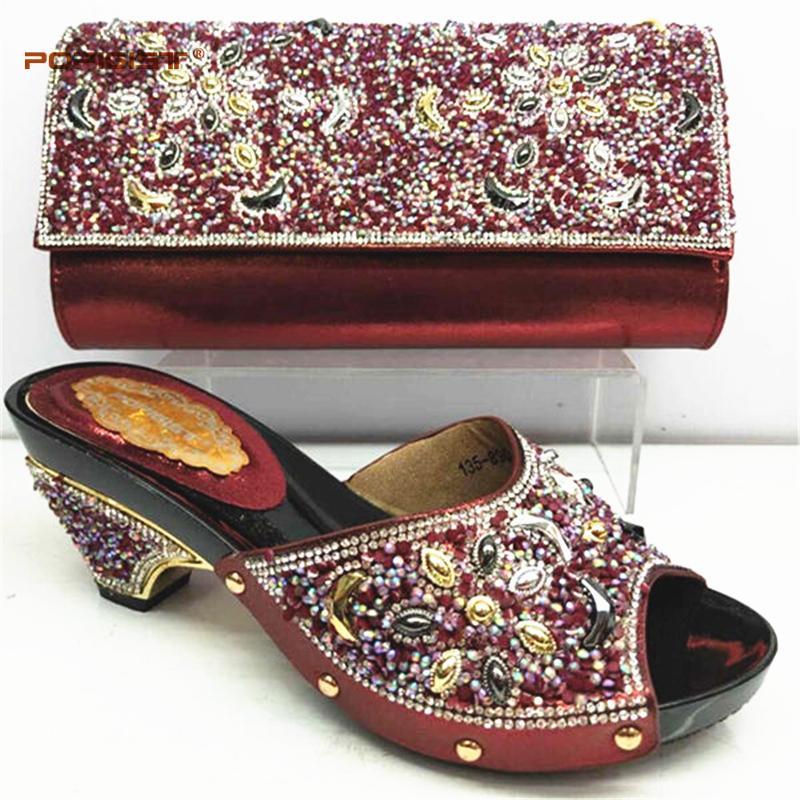 2019 Wine Summer Nouvelle chaussons africains à venir Chaussures italiennes et sac assortis à chaussures avec sac serti de cristal brillant