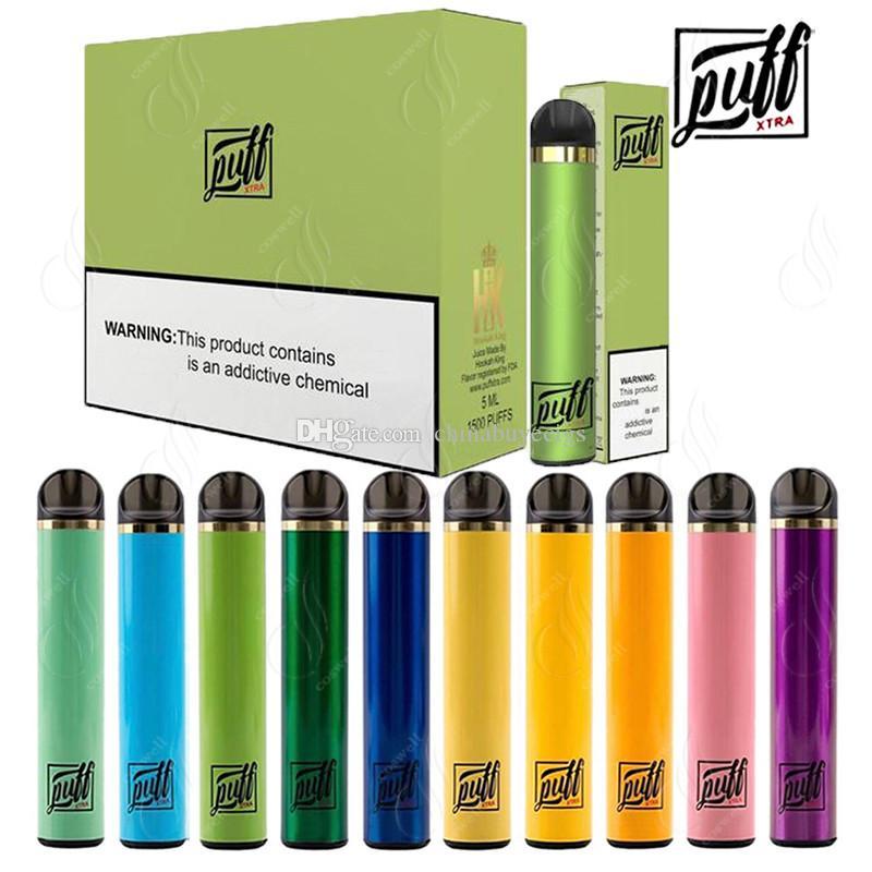 Newest PUFF XTRA Disposable Vape Pen 1500Puffs Pre-filled 5.0ml Cartridges Starter Kit Bars Plus Device Pods System Vaporizers e Cigs Vapor