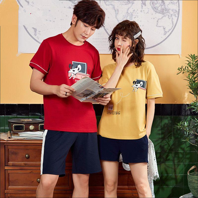 Couple wear pajamas summer Short sleeve Cotton Couple wear pajamas pyjama Short sleeve Men Women pullover