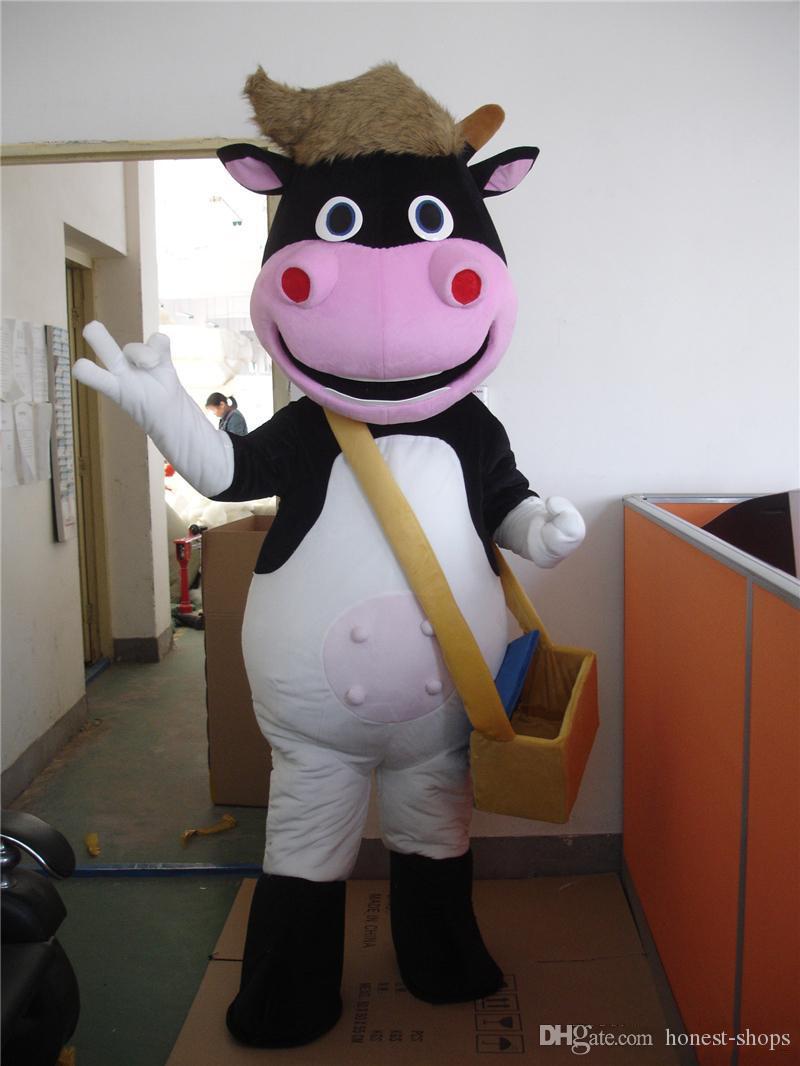 2018 vendita calda !! Vestito operato dal fumetto del costume del costume della mascotte dell'animale domestico della mucca del DAIRY dell'allevamento professionale della FUCSIA Trasporto libero
