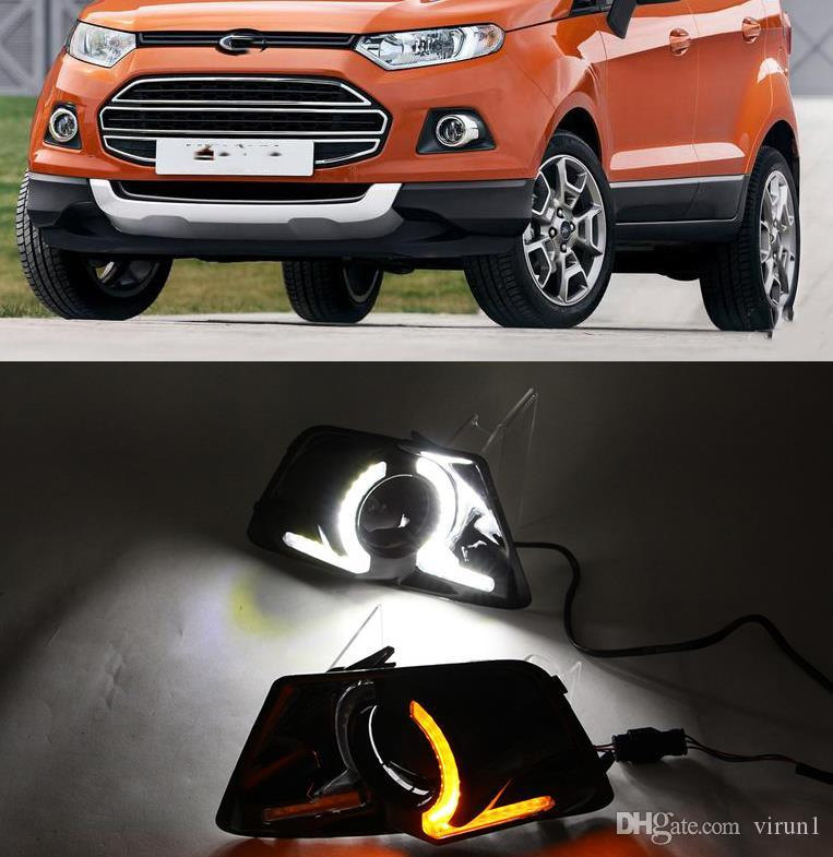 2Pcs DRL For Ford Ecosport 2013 2014 Daylight Car LED DRL Daytime Running Lights Fog Lamp cover with yellow signal