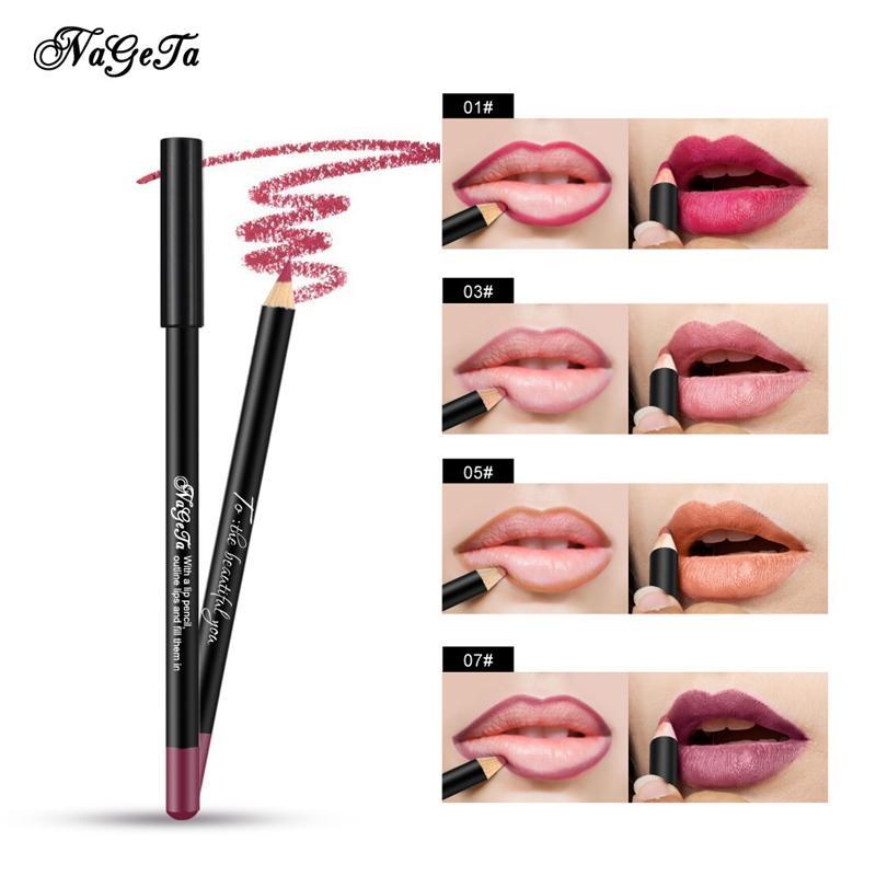 Nuevo Conjunto de delineador de labios mate Maquillaje a prueba de agua Contorno 3D Labios Pigmento Lápiz labial rojo Perfilador de labios Lápiz Mujeres Belleza Herramienta